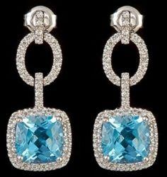 blue topaz diamond drop earrings
