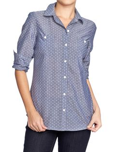 Pin-Dot Chambray Shirt | Old Navy