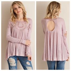 """Mauve Lace Jersey Knit Long Sleeve Top Mauve Embroidered Jersey Knit Top   Mauve solid long sleeve  jersey knit top featuring embroidery detailing. Rouching deatiling.  Non-sheer. Knit. Lightweight. 100% Rayon 2/2/2 TE1401C5C3 LARGE: Bust - 25""""; length front - 25"""" length back 30"""" ; arm approx 23.5"""" SMALL: Bust- 22""""; length front 24"""", length back - 28""""; arm length 23"""".   No trades! Tops"""