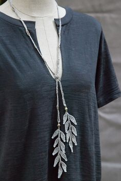 Mother's Day Gift Sale! 40%off Discount code: mumlove2014 • Silk Leaf Necklace with Ethiopian Silver Beads • Designed by Kelli Ronci