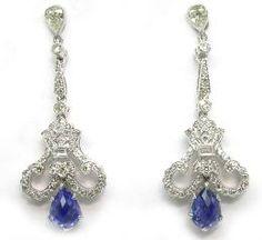 Art Deco 1.67ct Sapphire Diamond 18k White Gold Earrings