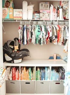 Inspiration for organizing a baby nursery and closet. How to organize books, clothes, gear, diapers, and more! Baby Nursery Closet, Baby Boy Rooms, Baby Boy Nurseries, Girl Nursery, Nursery Room, Baby Closets, Baby Girl Closet, Boys Closet, Baby Nursery Diy