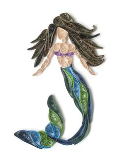 This handmade paper quilled mermaid art is ready to display and impress your guests with its intricate detail. I hand roll, paste and create these from scratch using brightly colored acid free paper. Each one takes about five hours to make and because of the handmade nature of quilling, each one is unique. I have one made and ready to ship! The mermaid is on a 5 x 7 inch (12.7 x 17.78 cm) rigid canvas, with choice to add a frame. Because of the 3D nature of paper quilling, if you choose a…