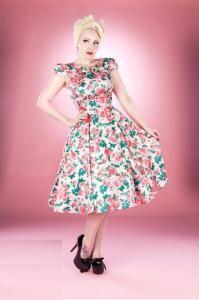 50a69318000b H&R Klänning Romantik flower 50 tal Rockabilly Vintageklänningar, Vintage  Outfits, Vintage Kläder