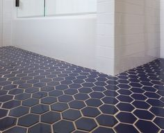 Hexagon blue floor tile with white subway tile  modern fresh     Fireclay Tile   Navy Blue Hex Tile