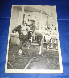 Vintage Photo of Young Boy in Chaps Hat on A Pony Horse Cowboy 5x7 Picture | eBay