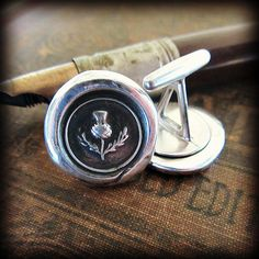 Scottish Thistle Wax Seal Cuff Links  by ShannonWestmeyer on Etsy