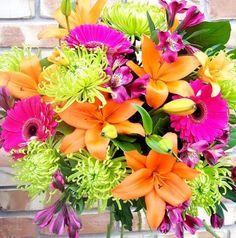 May 21- Tangerine & Fuschia Wedding ideas needed :  wedding fushcia ideas products needed spring wedding tangerine Bouquet1