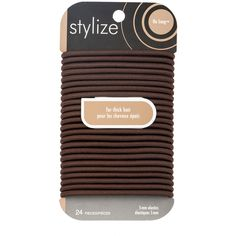 Stylize Wide No Snag Elastics, Brown: These No Snag Elastics glide on and off any ponytail with ease and without pulling or tugging. These elastics have no metal parts, and are designed for thick hair. Luxury Beauty, Hair Ties, Hair Accessories, Metal, Brown, Shop, Products, Ribbon Hair Ties, Metals