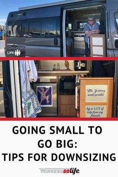 Are you downsizing from your sticks & bricks home to an rv? Here are the best tips on how to downsize so you can trade things for experiences! From when to start downsizing, how to save pictures, what to keep, and so much more. Check out this article that is full of great tips and suggestions on how to downsize your belongings in order to begin living full-time in an RV and learn how going small can help you GO BIG in life. Downsizing Tips, Motorhome Living, Class B Rv, Rv Homes, Responsible Travel, Sustainable Tourism, Boredom Busters, Rv Parks, Rv Travel