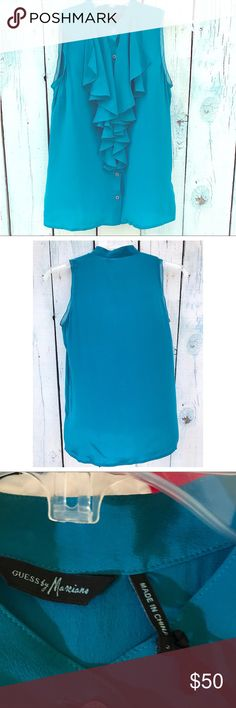Guess by Marciano Blouse Guess by Marciano beautiful Bermuda blue  sleeveless ruffle front blouse. Button 1e136cf079