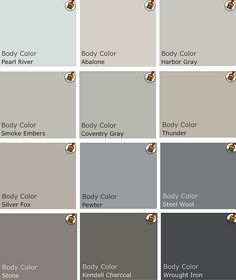 Recommended palette of grey Benjamin Moore Paints from interview on Design Crisis?Kendall Charcoal is our bedroom color! Room Colors, Wall Colors, House Colors, Paint Colors, Colour Schemes, Color Combos, Color Palettes, Paint Schemes, Pantone Azul