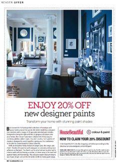 #Designerpaint  @HouseBeautiful summer promotion. 20% off all designer paint brands. Enter code: Beautiful2015  www.colourandpaint.com