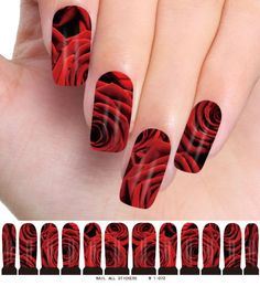 Newest Fashion Nail Decals Temporary Nailart Tattoos Nail Art Water Transfer Stickers for Ladies Girls Nail Decorations - Red Rose Patterns