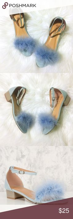 "Sky Blue Feather Block Heels 🦋 New in box, vegan sky blue leather block heels with a feather detailing at the toe and ankle strap closure. Size 6.5. Heels measure about 1.5"". There is a tear in the box that doesn't affect the shoes themselves (see pics). Offers are welcome. Please ask questions and feel free to bundle with other items in my closet for a discount! 💕 Shoes Heels"