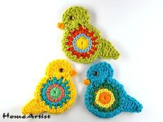 Listing is for 3 crochet embellishments, mix of colours.  Each motif is between 5,5 cm x 5 cm wide and is made in a quality cotton yarn, which is soft and machine washable.  Would look...