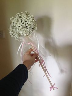 flower girl wand made with gypsophila - boho chic!