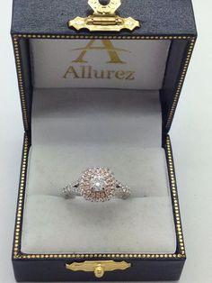 Square Double Halo Diamond Ring & Band Bridal Set Two Tone Gold 1.17ct - Allurez.com