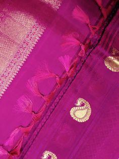 Kanaka pink kanchi silk saree with subtle self jacquard weave & mango butta