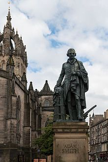 Statue of Adam Smith by Alexander Stoddart on the Royal Mile in Edinburgh