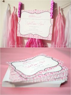 Aqiqah Invitation  Pink Damask  Arabic by PathOfLightDesigns Pink Damask, Pink Invitations, Baby Shower, Tote Bag, Trending Outfits, Unique Jewelry, Handmade Gifts, Etsy, Fashion