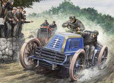 By Carlo Demand - The 1902 Gordon Bennett Cup Race, from Paris to Innsbruck. Henri Fournier's Mors leading the Panhard of Farman.