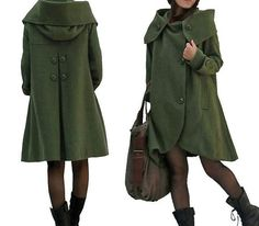 dark green cloak wool coat Hooded Cape women Winter wool by MaLieb