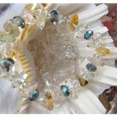 "A crystal & semiprecious stones & glass bracelet -  crystal, an angel, and healing one-house house"" Crystal Garden   Mejiro """