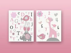 Kids Wall Art Nursery Decor Carter Zoo Baby girl by DesignByMaya, $48.00