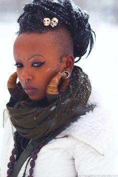She is GORGEOUS!!!!   punk black art natural hair dread locks locs dread locs punck rock beautiful black women