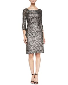T8P05 Kay Unger New York 3/4-Sleeve Lace Cocktail Dress LIAN