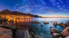 View of Cape Town's Table Mountain, Lions head & Twelve Apostles at sunset, South Africa, 55688f8a39f090a6fb6111b89793a4d2