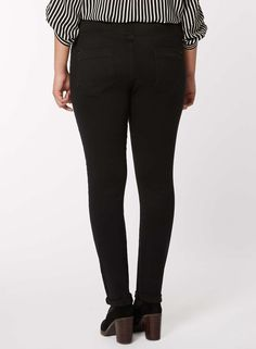 Womens DP Curve Plus Size Black Fly Front Jeggings- Black
