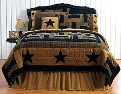 New Primitive Country Folk Art Patchwork BLACK TAN STAR QUILT King Bedspread