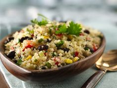 Quinoa with Black Beans | Quinoa is high in protein, low in fat and cooks quickly, making it a terrific dinner choice. As is, this recipe works well as a grain side dish; to make it a main dish, double the serving size. 8 servings (1/2 cup each) | From: livebetteramerica.com