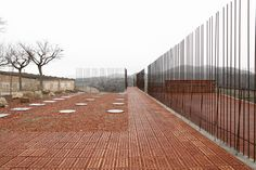 Built by Toni Girones in Seró, Spain with date Images by Aitor Estevez. During January of the construction works of a secondary pipe of the water distribution mains in Segarra-Garrigu. Brick Architecture, Contemporary Architecture, Landscape Architecture, Architecture Drawings, Urban Landscape, Landscape Design, Brick Works, New Museum, Fence Landscaping