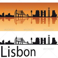 Lisbon Skyline in Orange Background  #GraphicRiver         Lisbon skyline in orange background in editable vector file     Created: 16May13 GraphicsFilesIncluded: LayeredPNG #JPGImage #VectorEPS Layered: Yes MinimumAdobeCSVersion: CS