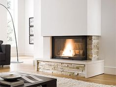 Classic and modern firebox claddings - Palazzetti Home Fireplace, Modern Fireplace, Fireplace Design, Garage Loft Apartment, Living Room Decor, Living Spaces, Modern Cottage, Sweet Home, House Design