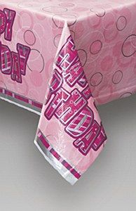"""Pink Happy Birthday Tablecover Our Pink Happy Birthday Tablecover is a disposable plastic tablecover which measures 54"""" x 84"""" and features the message """"Happy Birthday"""" written in pink, and silver on a stylish pink and silver background. This tablecover is ideal to protect surfaces from spills and to add a bit of glitz to the celebration and is ideal for any age birthday. Don't forget to check out our other pink happy birthday decorations available including banners, bunting, balloons…"""
