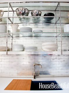 Metal etagere style shelves, ann sacks Davlin tile in gold leaf  Mick De Giulio Kitchen of the Year - The 2012 Kitchen of the Year - House Beautiful