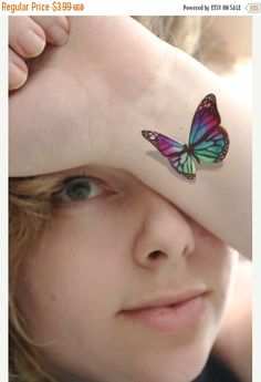 SUMMER SALE 3D Stain Glass Butterfly Temporary by TattooMint