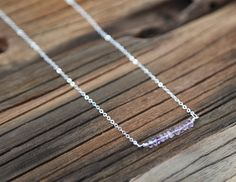 Beaded amethyst and sterling silver bar necklace by Rosehip Jewelry