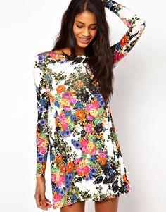 bold floral print spring dress. could even wear with black leggings & heels!