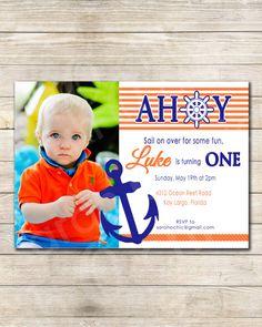 Nautical Birthday Party Invitation - sarah O chic -  orange, navy blue, sailor, sea, anchor, ahoy, nautical party