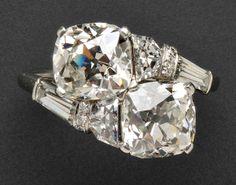 Skinner Fine Jewelry Auction: Lot 750: Platinum and Diamond Toi et Moi Ring, Raymond Yard