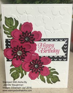 Botanical Blooms Card - www.stampedwithaloha.com. (Pin#1: Flowers: SU-3D/Dies)
