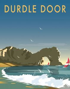 East Urban Home A stunning design of Durdle Door in Dorset by talented artist, Dave Thompson. Thompson's art revisits a classic era of poster design, taking many elements of popular travel art, while remaining current and vibrant. Posters Uk, Beach Posters, Railway Posters, Art Deco Posters, Graphic Prints, Graphic Art, Art Prints, Portsmouth, Tourism Poster