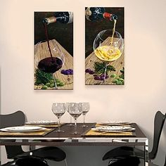 Personalized Canvas Print A Glass Of Red Wine 30x 60cm 40x80cm  Framed Canvas Painting   Set of 2 – USD $ 49.99