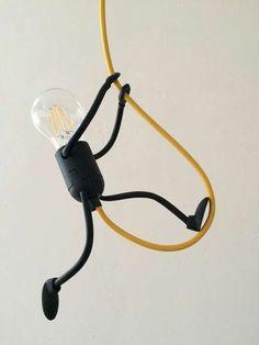 20 Creative DIY Art Stickman Lamps With Unique Shape 20 kreative DIY Art Stickman Lampen mit … Art Diy, Wood Lamps, Pipe Lamp, Bedroom Lamps, Handmade Design, Modern Industrial, Lamp Design, Home Lighting, Metal Art