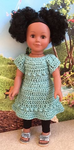 """This cute little dress fits 18"""" dolls such as the American Girl doll. The dress is a quick crochet project and uses less than 3 ozs. of worsted weight yarn."""